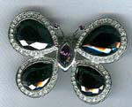 Buy online fashion butterfly jewelry supply. Brooch with small, imitation diamonds framing large crystals in wings