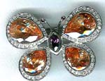 Beauty jewelry store supply factory. Silver butterfly pin with cz gems