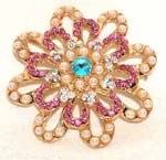 Cz stone jewelry wholesale accessory shop. Fashion brooch with colored cz gemstones in petal design
