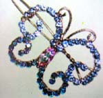 Cz gemstone brooch supply company sells Fashion barrette style pin in butterfly design with blue crystals