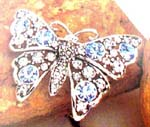 Womens jewelry accessory wholesale gift wear. Beautiful silver plated butterfly brooch with light blue and clear cz gemstone inlaid in wings